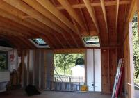 A view of the framing in this raised ceiling