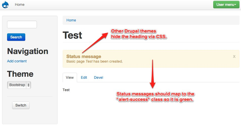Drupal message types do not map to the appropriate Bootstrap alert