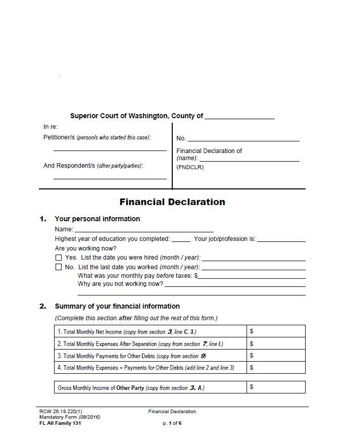 Court Order DSHS - financial declaration form