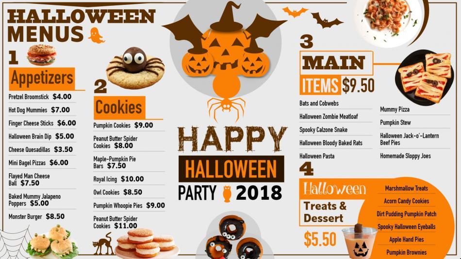 Bold signage menu design for Halloween for restaurants