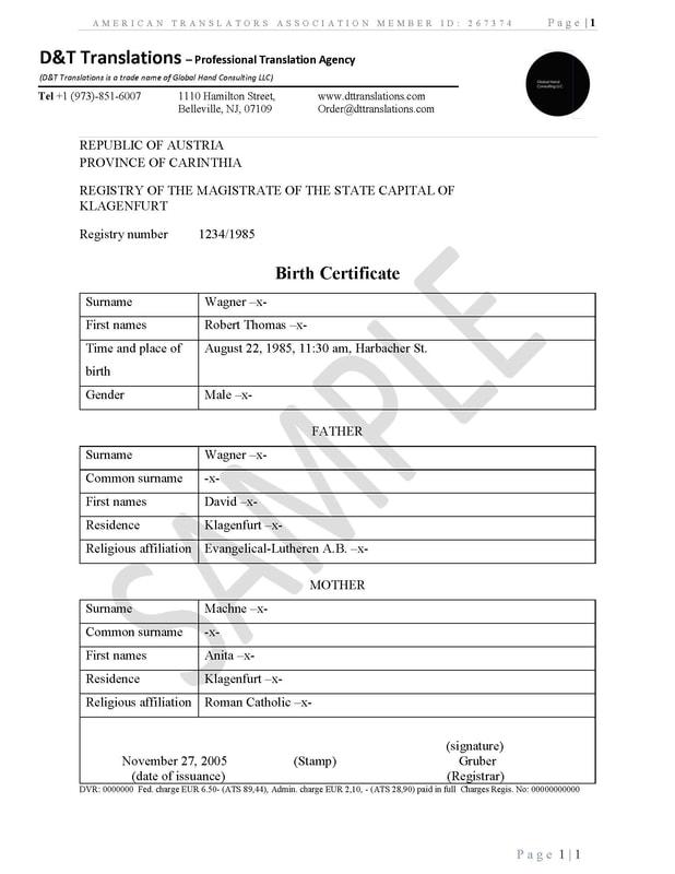 Birth Certificate Translation Template - Eliolera - sample birth certificate template