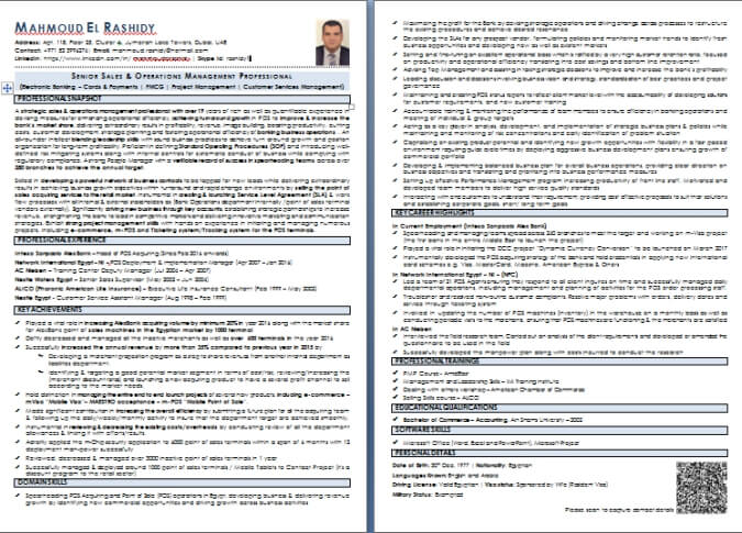 CV Writing Sample and Templates from Dubai-ForeverCom