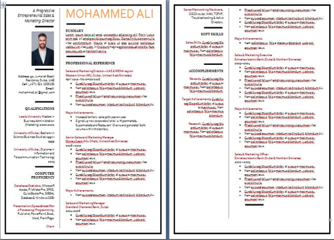 CV Writing Sample / Templates Dubai-ForeverCom - Curriculum Vitae Example