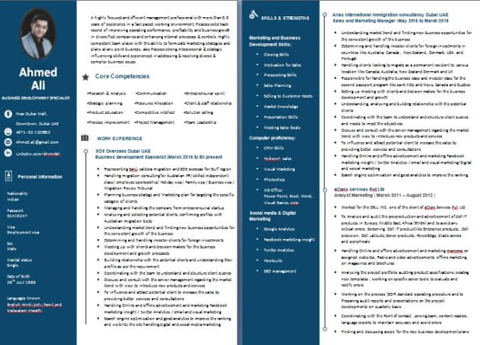 CV Writing Sample / Templates Dubai-ForeverCom