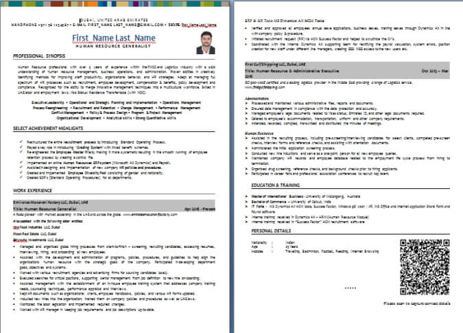 CV Writing Sample and Templates from Dubai-ForeverCom