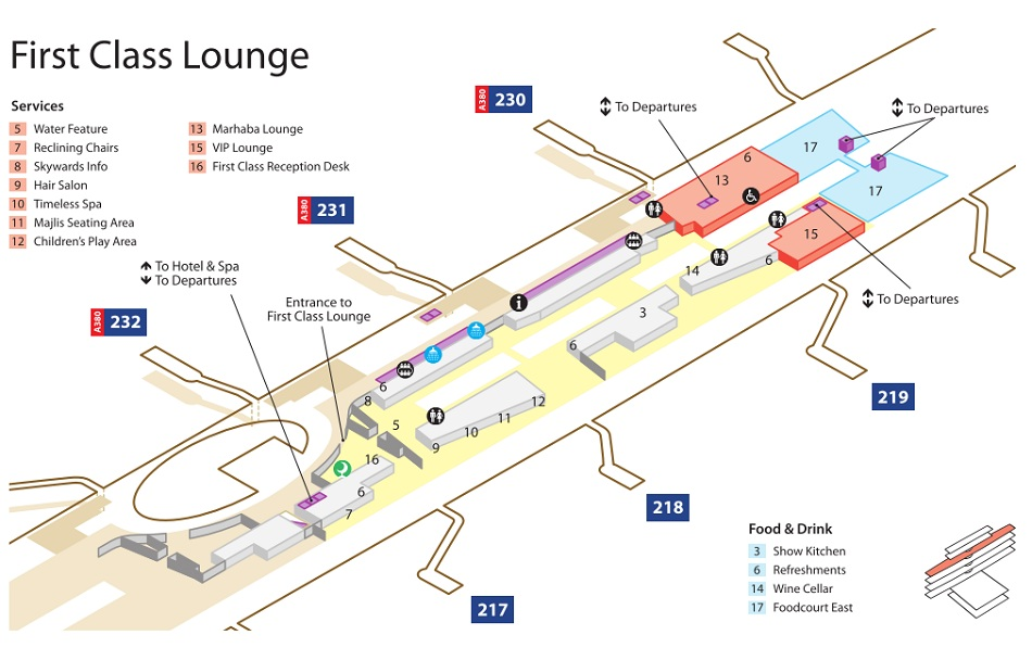 Emirates Terminal 3 First Class Lounge Map