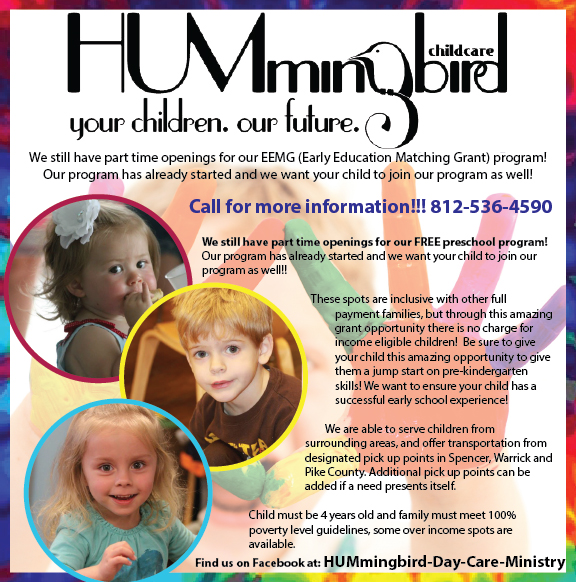 Hummingbird Daycare Ministry has openings in free preschool program