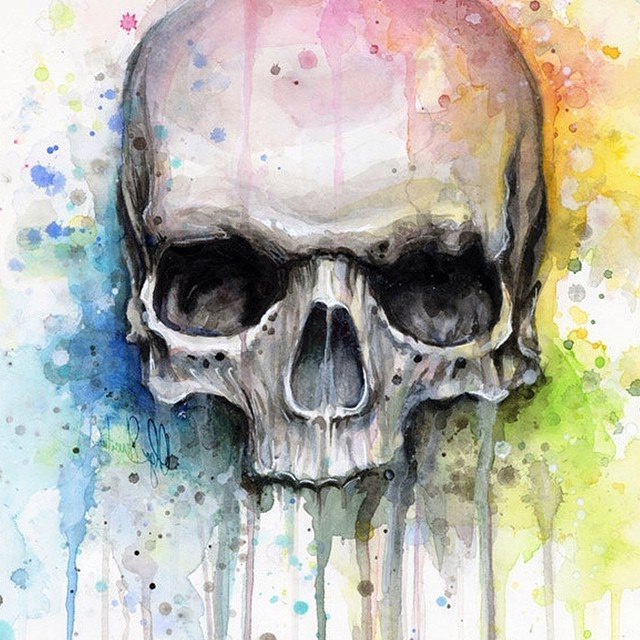 Bright Colors Wallpaper 3d Dark Skull On Bright Background Tattoo Best Tattoo Ideas