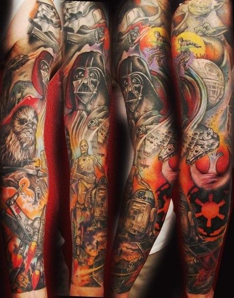 all the star wars characters tattoo sleeve best tattoo ideas. Black Bedroom Furniture Sets. Home Design Ideas