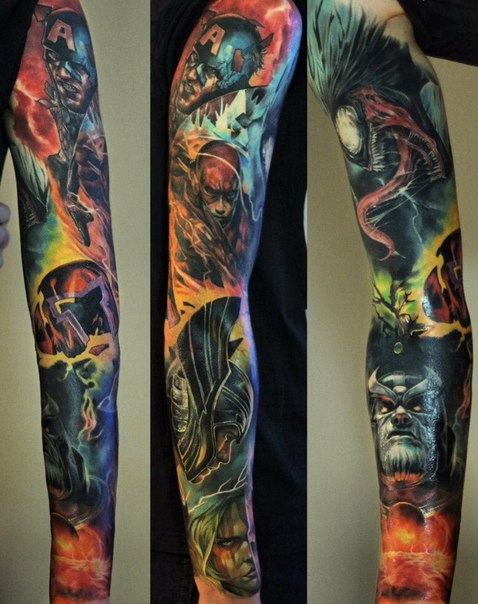 avengers crew realistic tattoo sleeve best tattoo ideas. Black Bedroom Furniture Sets. Home Design Ideas