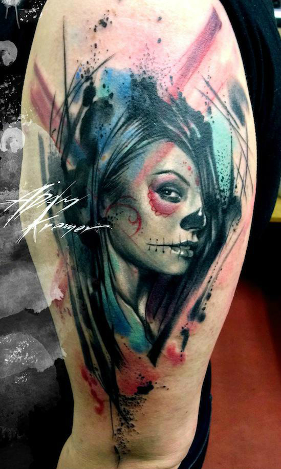 chicano trash polka face aquarelle tattoo by adam kremer best tattoo ideas. Black Bedroom Furniture Sets. Home Design Ideas