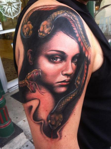 Shoulder snake hair girl tattoo by johnny smith art best for Snake tattoo girl