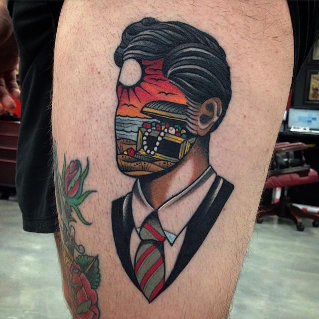 Dream of treasure face new school tattoo by wa ink tattoo for New school pin up girl tattoos