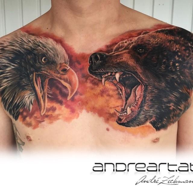 Bear and eagle tattoo on chest dubuddha org for Bear chest tattoo