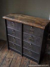 ancien meuble 8 casiers industriel strafor plateau chene ...
