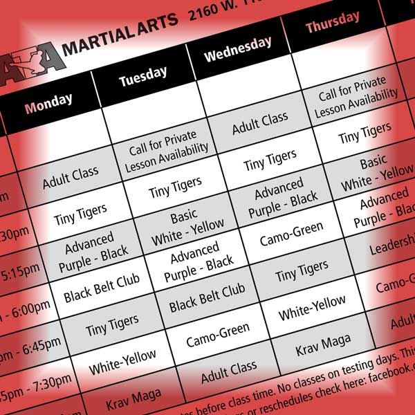 New Class Schedule Starting May 4th - Duer\u0027s ATA Martial Arts