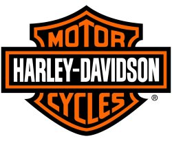 The well-known, if not famous, Harley-Davidson logo is on the left ...