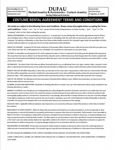 rental agreement form dufaujewelry - rental agreement