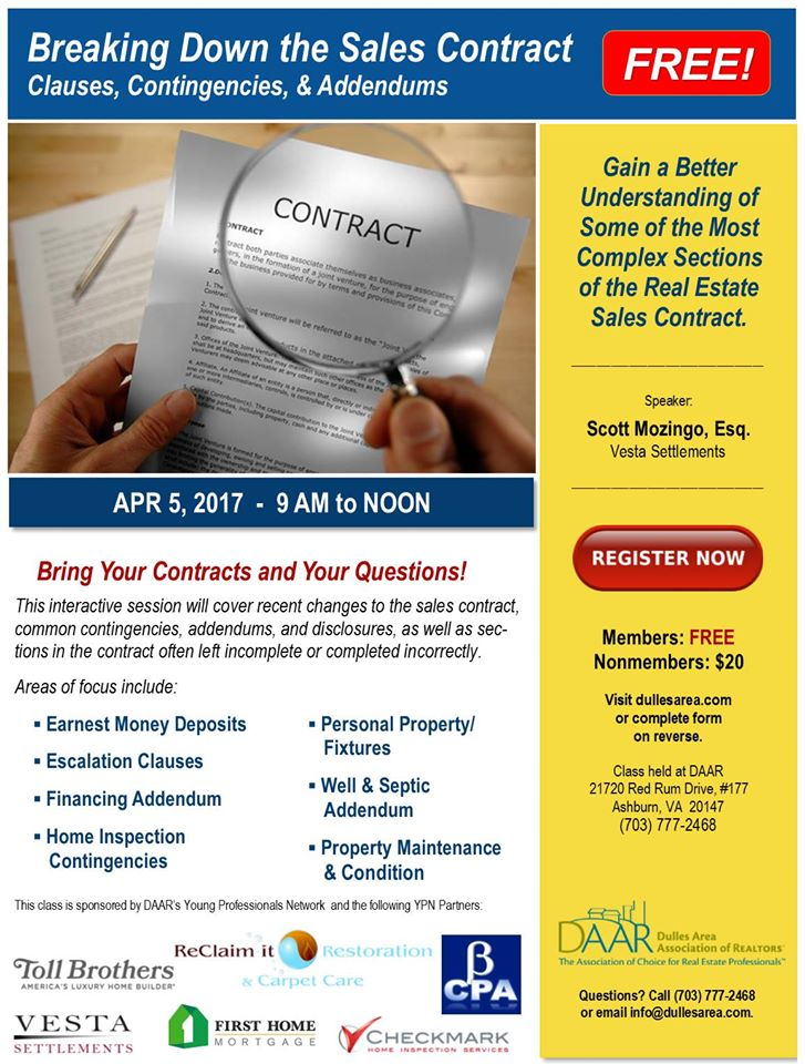 YPN Workshop Breaking Down the Sales Contract \u2013 Wednesday, 4/5