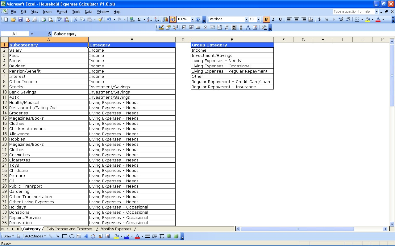 expenditure tracking spreadsheet