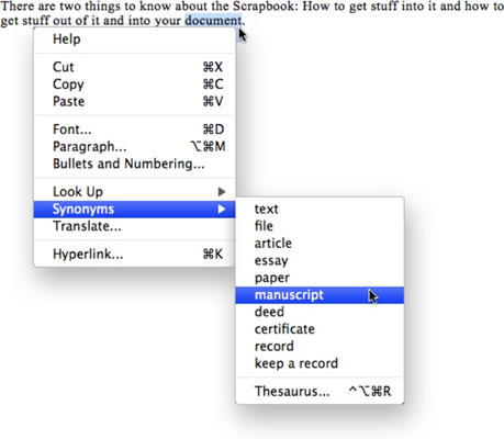 How to Use the Word 2008 for Mac Thesaurus - dummies