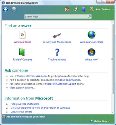 How to Use the Windows Help and Support Center in Windows Vista - help and support