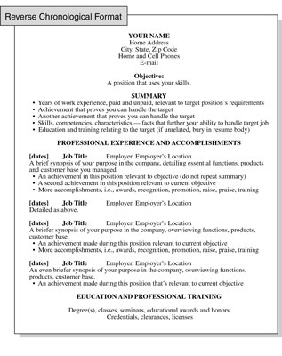 Reverse Chronological Resume Format Focusing on Work History - Educational Resume Format