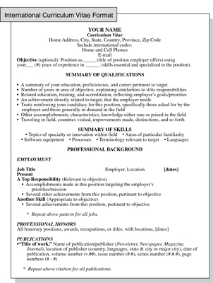 International Curriculum Vitae Resume Format for Overseas Jobs - curriculum vitea sample