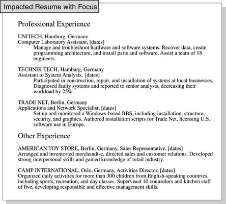 How to Focus a Resume on Relevant Job Experience - dummies - resume working experience