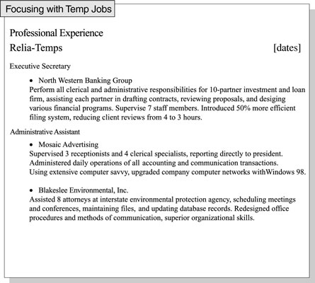 How to Focus a Resume on Relevant Job Experience - dummies - Relevant Experience Resume