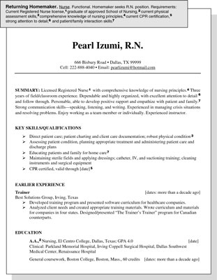 Sample Resume for a Homemaker Re-entering the Job Market - dummies