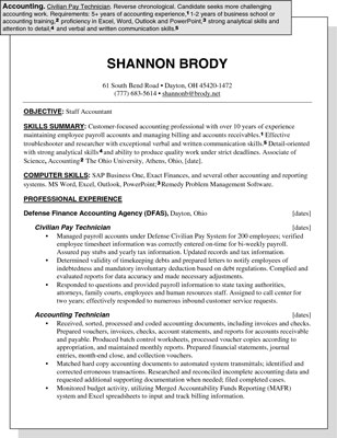 Sample Resume for an Accounting Position - dummies - accounting sample resumes