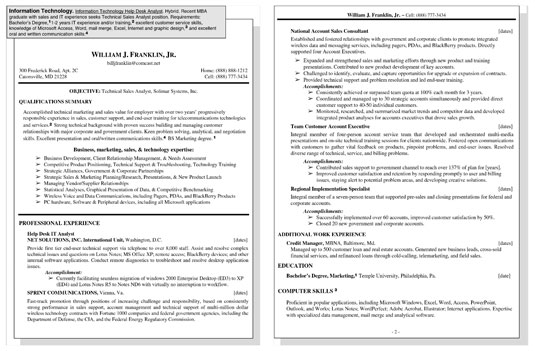 Sample Resume for an Information Technology (IT) Position - dummies - sample information technology resume