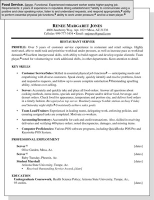 Sample Resume for a Food Service Position - dummies - Food Service Worker Sample Resume