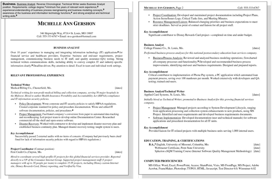 Sample Resume for a Business Position - dummies