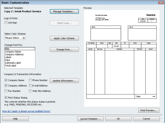 How to Create a Customized Invoice Form in QuickBooks 2010 - dummies - create an invoice form