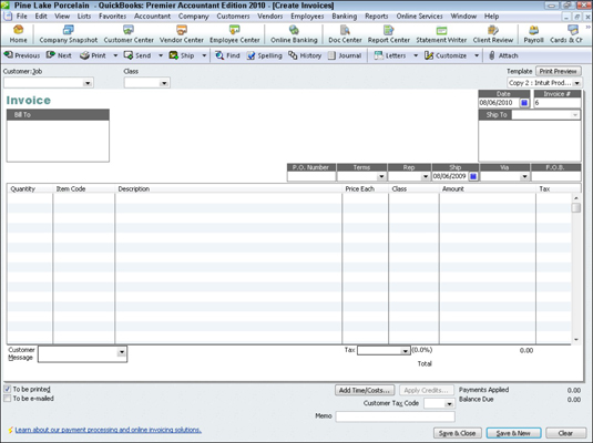 How to Invoice a Customer with QuickBooks 2010 - dummies - create a invoice