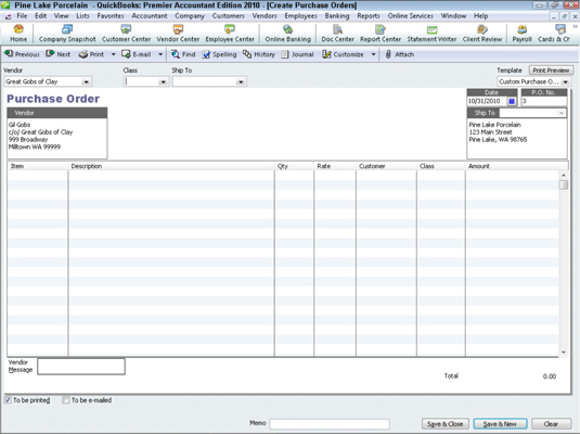 How to Create a Purchase Order in QuickBooks 2010 - dummies