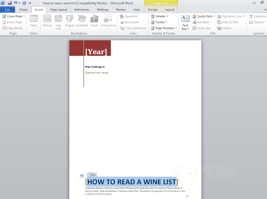 How to Add a Cover Page to a Word 2010 Document - dummies