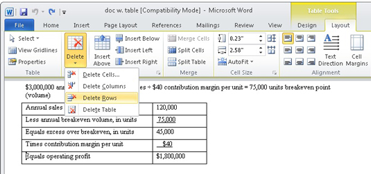How To Format A Table In Word 2010 Dummies