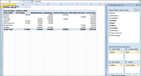 How to Create a Pivot Table in Excel 2010 - dummies - pivot table in excel