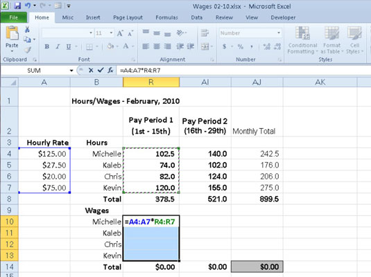 How to Build an Array Formula in Excel 2010 - dummies