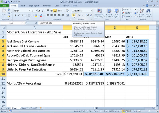 How to Display Numbers in Excel 2010 as Currency - dummies - ms excel for accounting