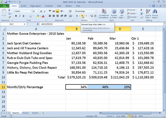 How to Apply the Percent Number Format in Excel 2010 - dummies