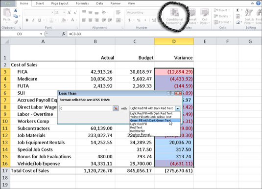 How to Apply Conditional Formatting in Excel 2010 - dummies