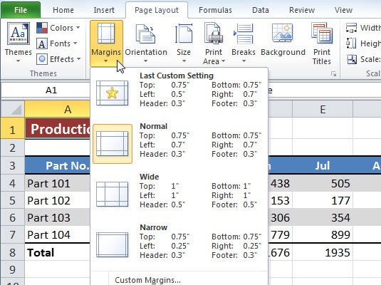 How to Change the Print Margins in Excel 2010 - dummies