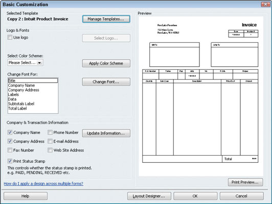 How to Customize an Invoice Form in QuickBooks 2011 - dummies