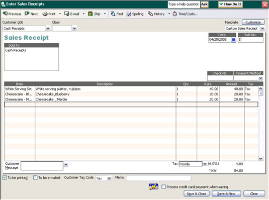 Tracking and Recording Cash Sales in a Bookkeeping System - dummies - cash sales receipt