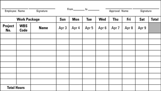 How to Monitor Work Effort - dummies - work hour sheet