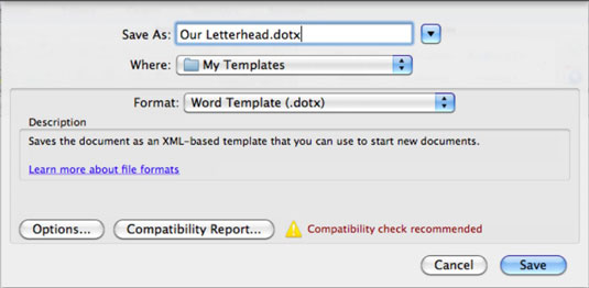 How to Save as a Template in Office 2011 for Mac